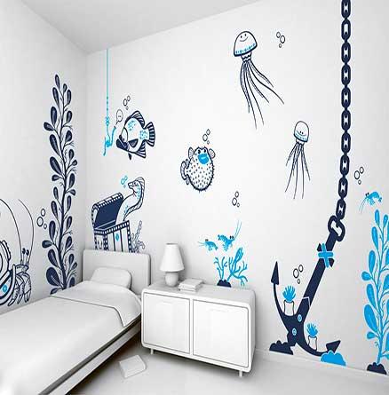 original y divertido vinilo que decora dos paredes con dibujos del fondo del mar ideal para una habitacin juvenil