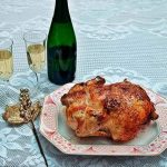 Pollo relleno de castañas y manzanas al cava