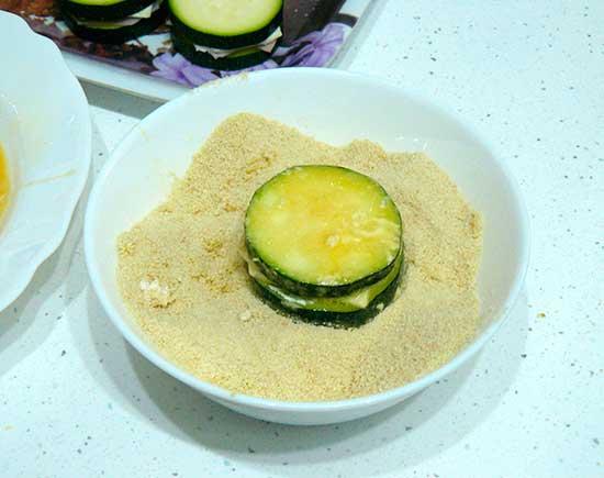 San Jacobos de calabacín, jamón y queso