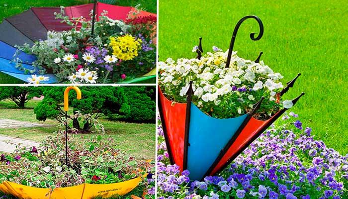 macetas,-reciclaje,-plantas,-decoracion-de-jardin-con-paraguas