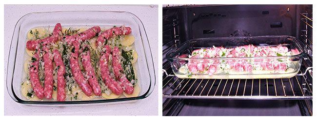Salchichas al horno con patatas