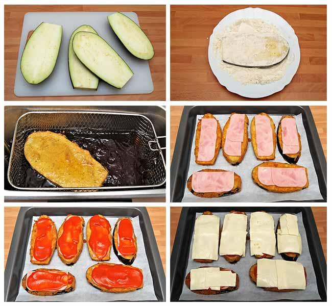 Milanesas de berenjena con jamón y queso