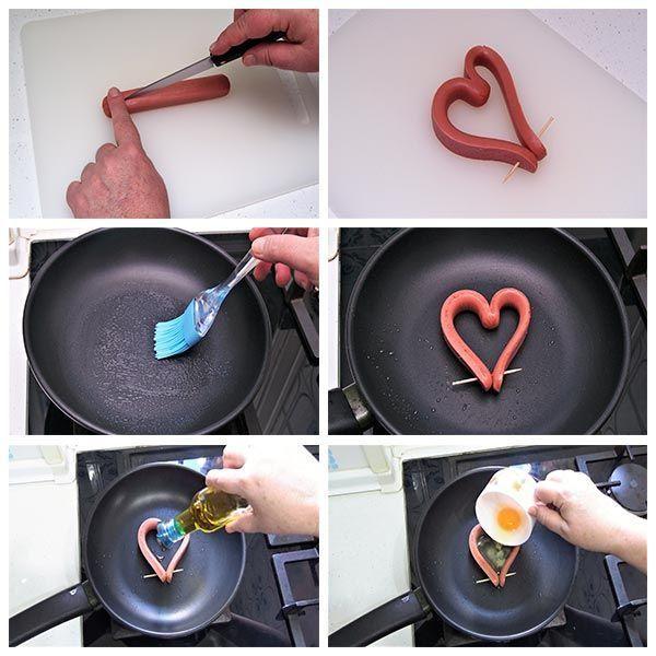 Salchichas con huevo en forma de corazón