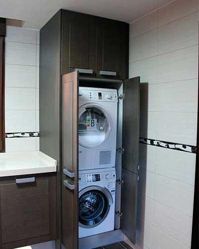 Lavadora y secadora en el cuarto de ba o s cale el - Armario para lavadora ...