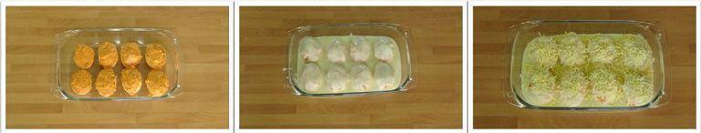 Huevos rellenos de atún y bechamel