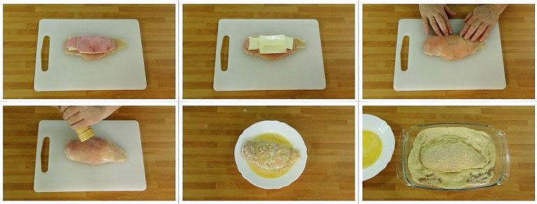 Pechugas rellenas de jamón y queso