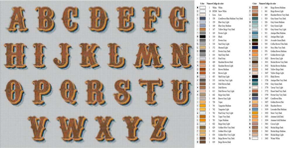 Letras para nombres en punto de cruz