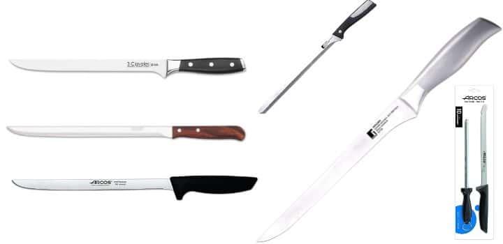 mejores cuchillos jamoneros acero inoxidable