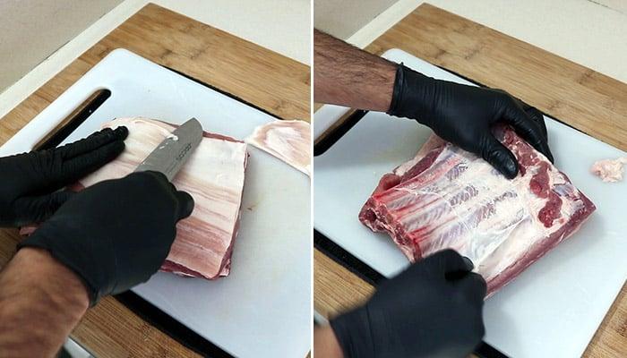 foto limpiar costillar de cerdo