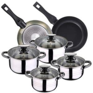bateria de cocina san ignacio de acero inoxidable negra y plateada